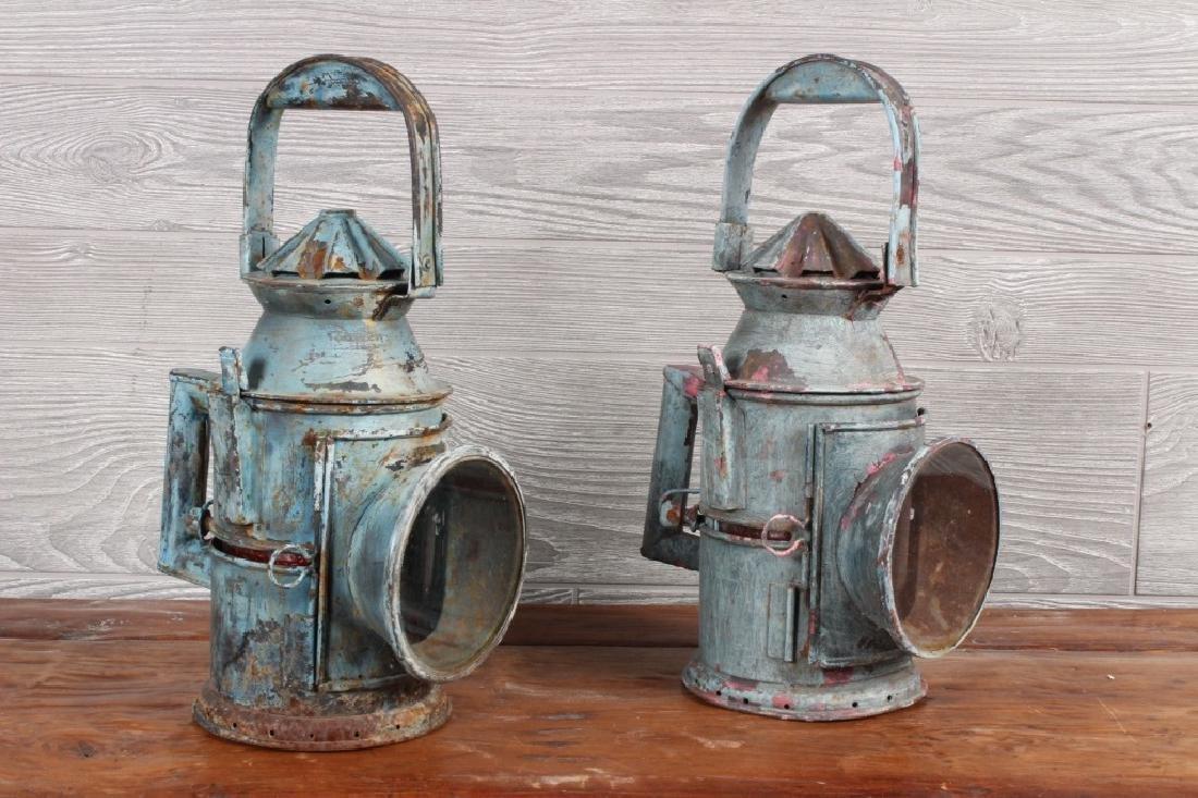 Pair Antique Maritime Signal Lanterns