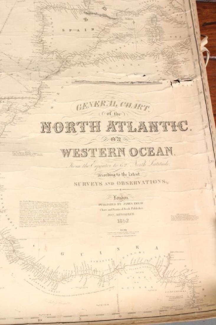 1852 English Chart of The North Atlantic