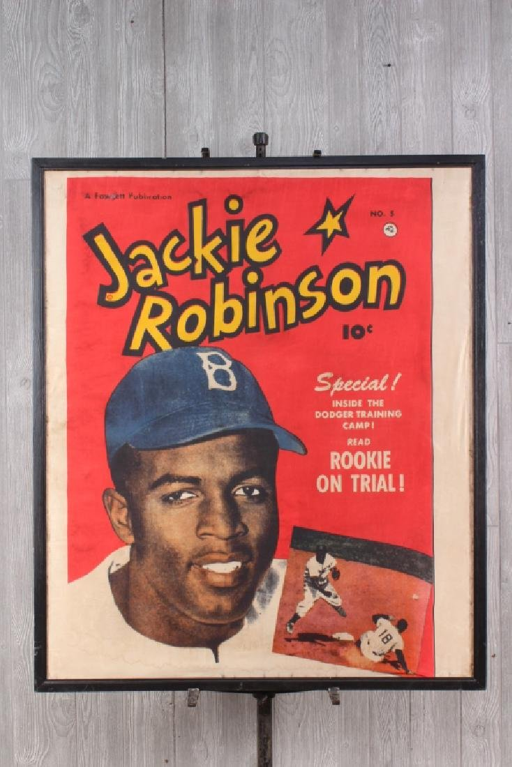 Rare Jackie Robinson Promotional Poster on Silk