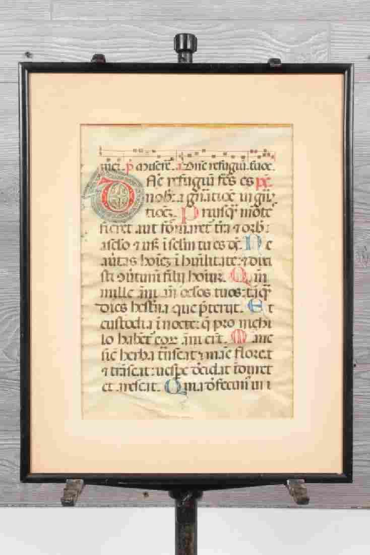 Antique Illuminated Antiphonal Leaf on Vellum