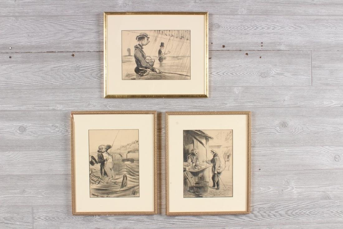 3 Honore Daumier Fishing Caricatures