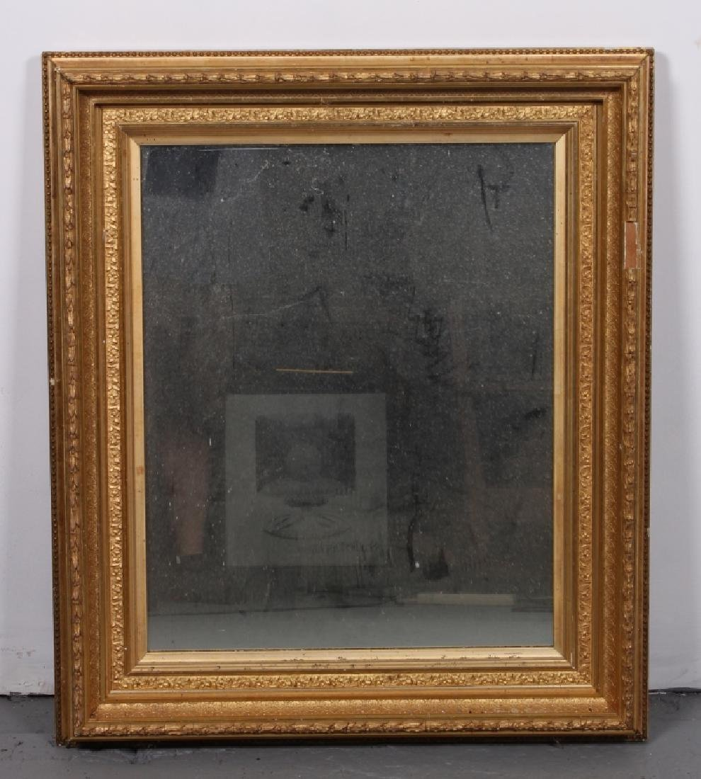 Late 19th C Gilt Wood and Gesso Frame with Mirror