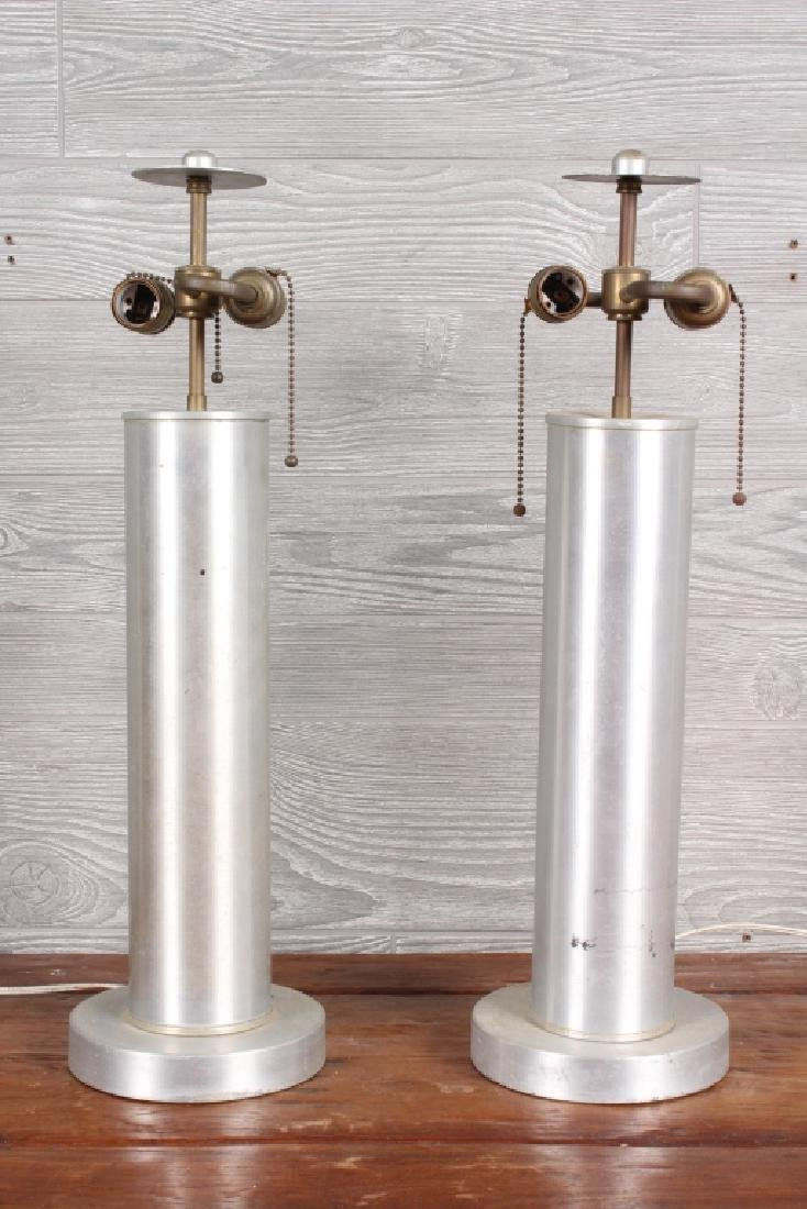 Pair Modern Industrial Age Turned Aluminum Lamps