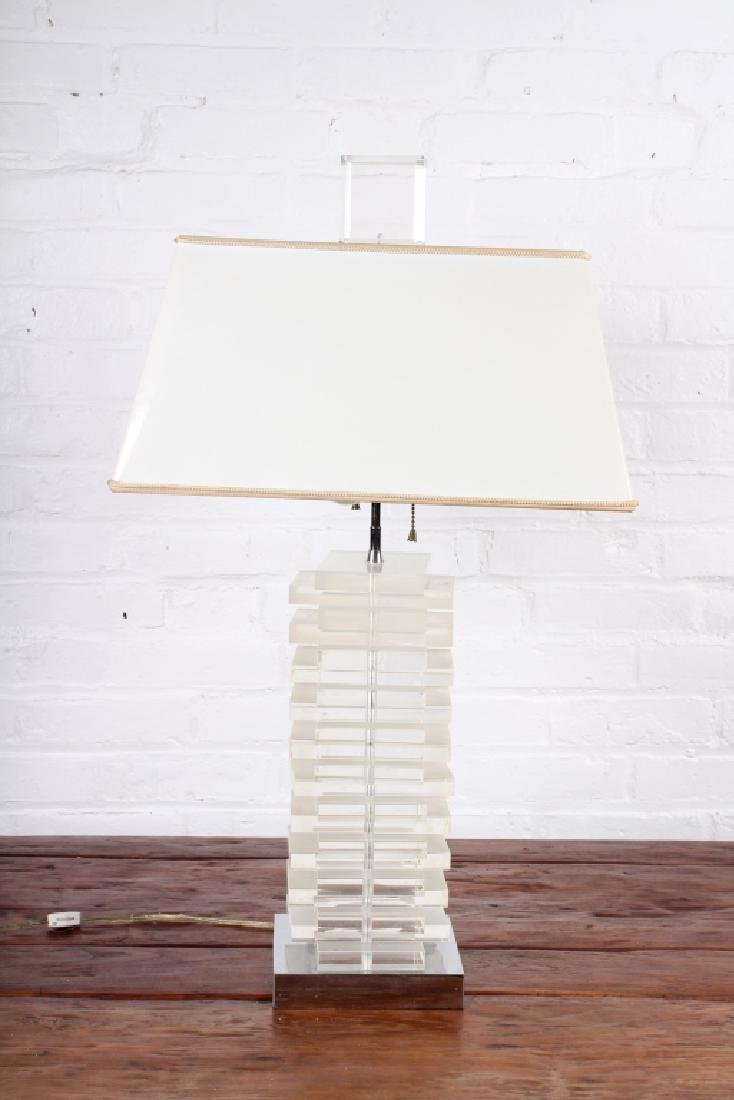 Mid Century Modern Stacked Lucite Table Lamp