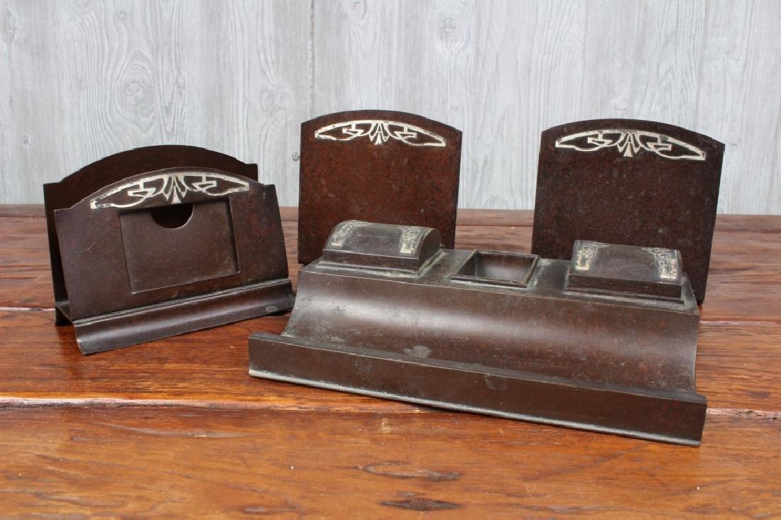 Heintz Bronze and Sterling Silver Desk Set