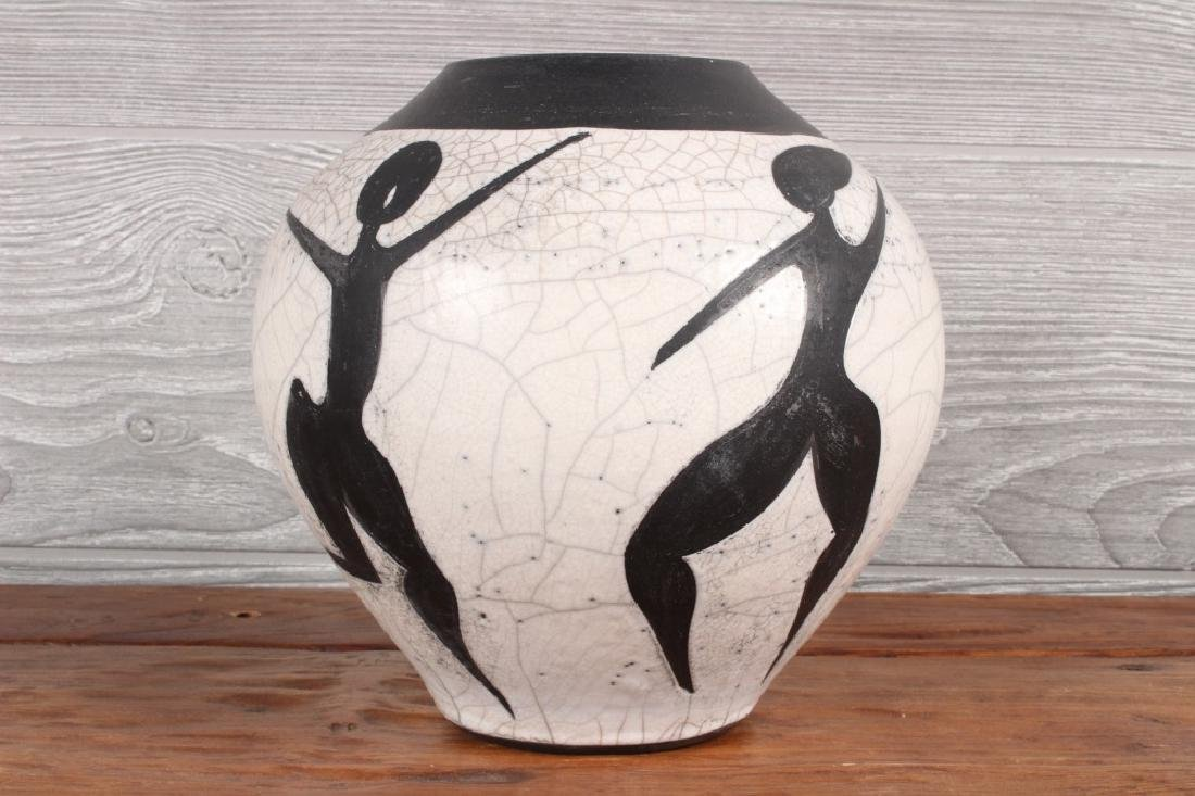 Raku Pottery Vessel Signed Fields