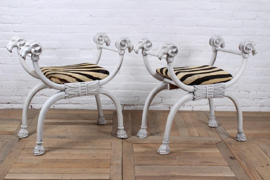 Pair of Fantasy Regency Style Benches