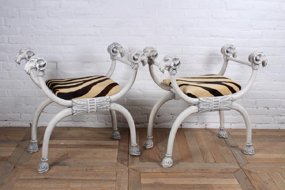Pair of Regency Style Fantasy Benches