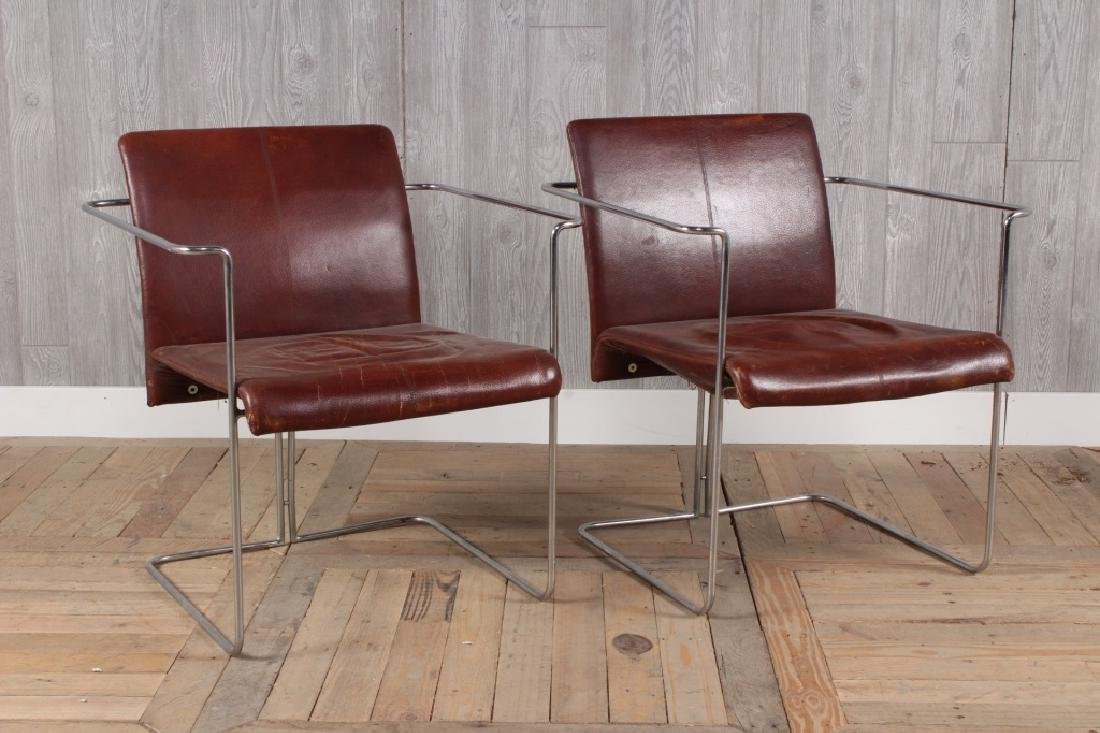 Pair Italian Modern Cantilever Sling Chairs