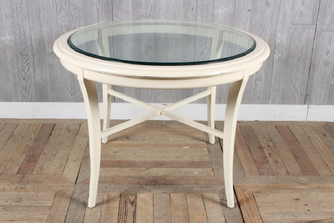 Modern Regency Revival Glass Top Center Table