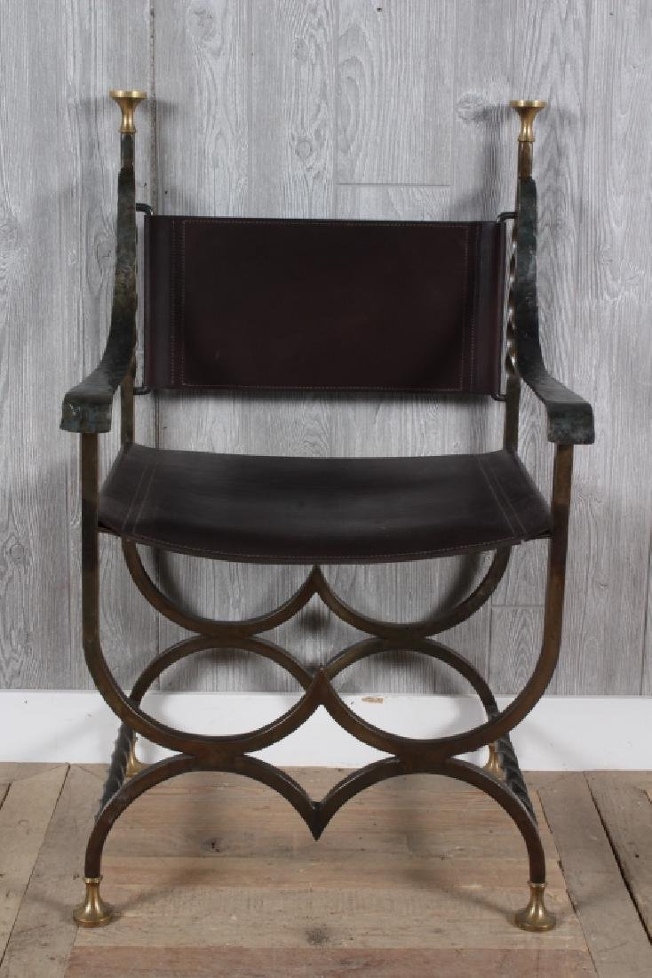 Wrought Iron and Leather Savonarola Chair