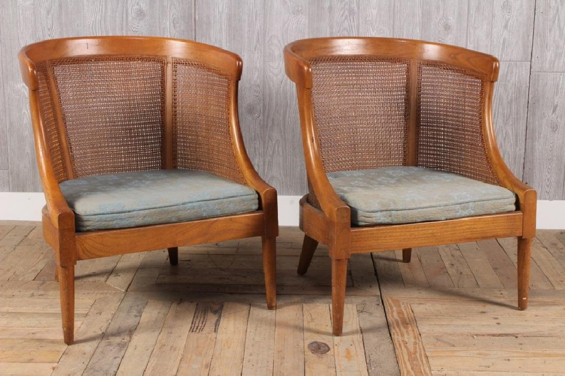 Pair Caned Barrel Chairs
