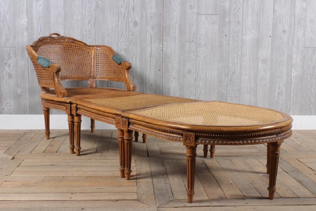 Tripartite French Louis XVI Style Chaise Longue
