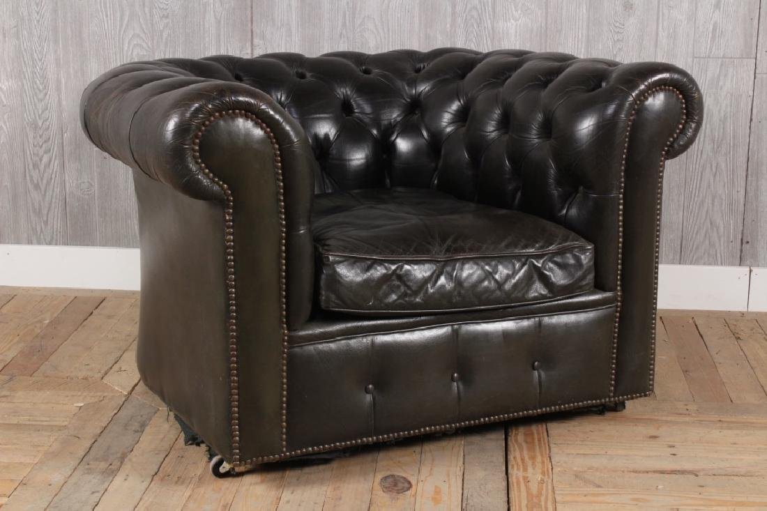 English Tufted Black Leather Club Chair