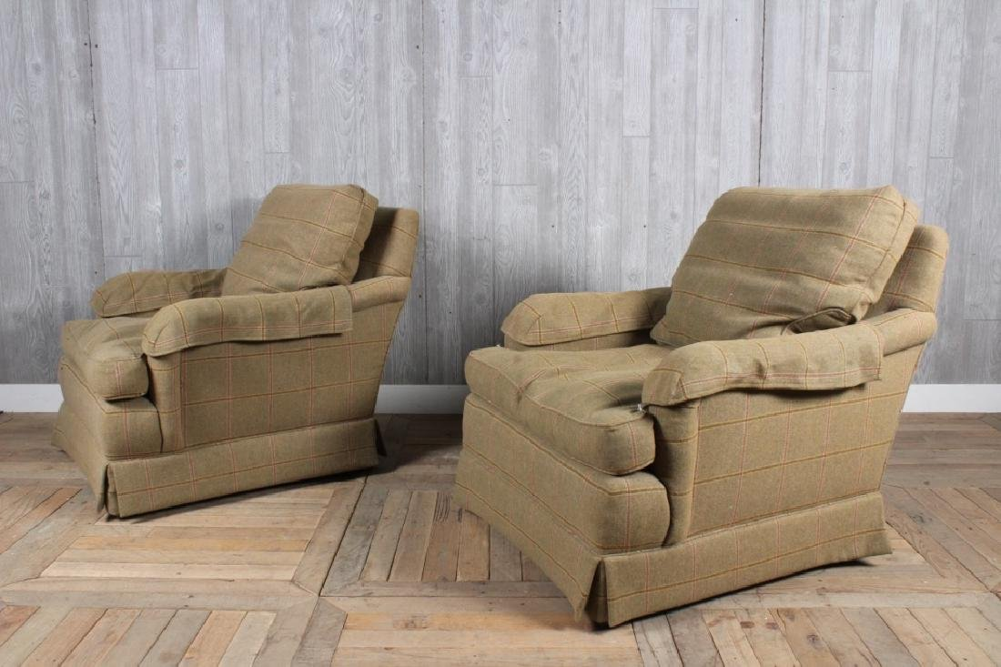 Pair Labeled Baker Wool Upholstered Armchairs