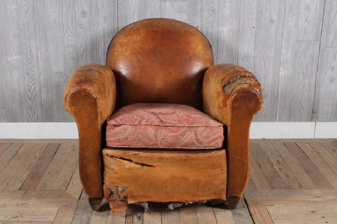 French Leather Club Chair w Paisley Seat