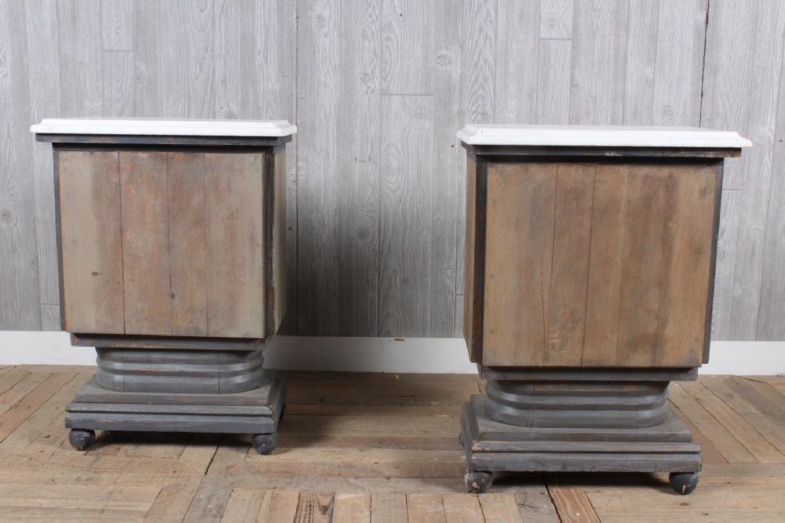 Pair Deco Style Console Tables w Marble Tops