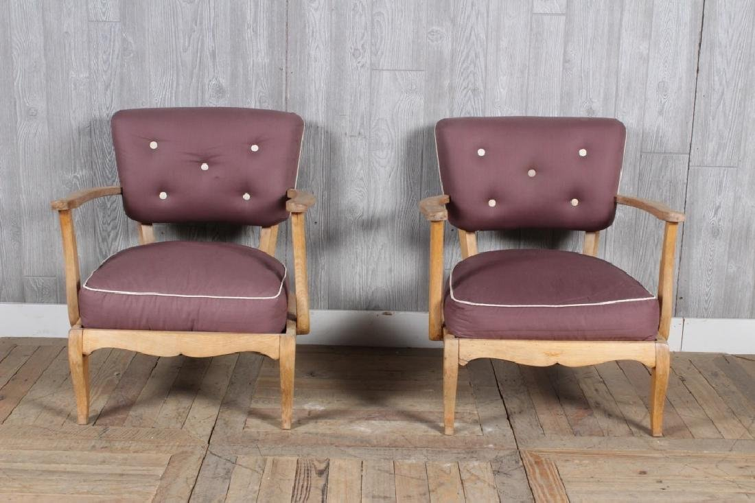 Pair Jules Leleu Style Armchairs