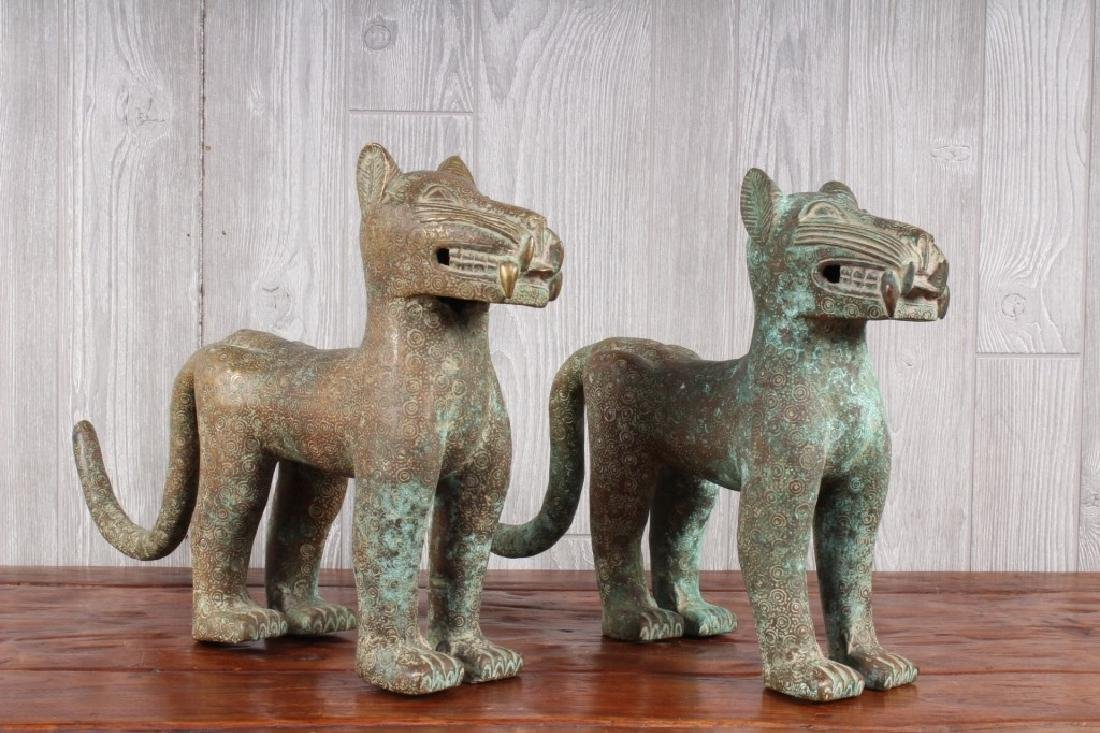 Pair Benin Bronze Leopards