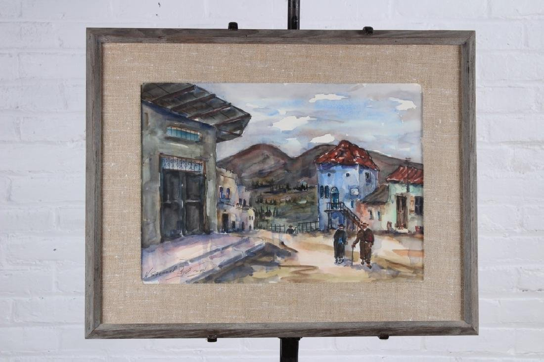 Village Scene Watercolor. Unknown Artist.