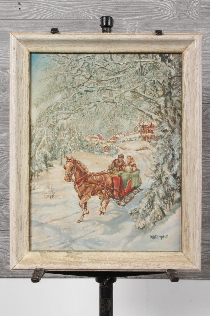 Signed GW Campbell Sleigh Ride Painting