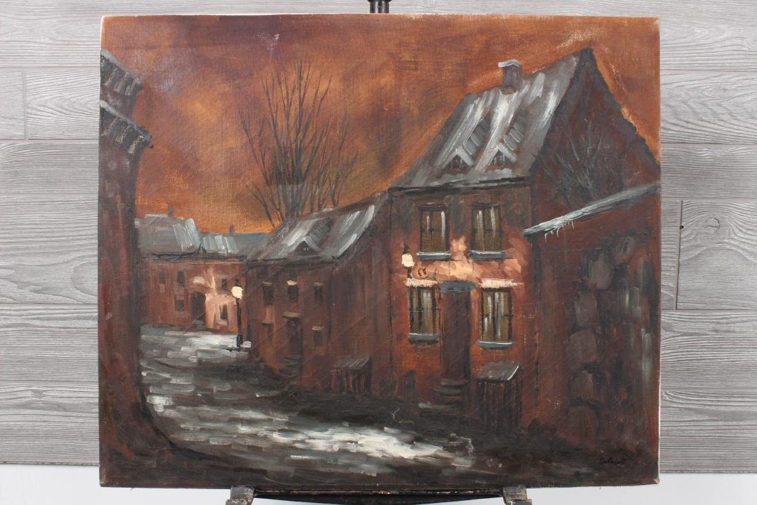 Village Lane Scene Signed Schmidt