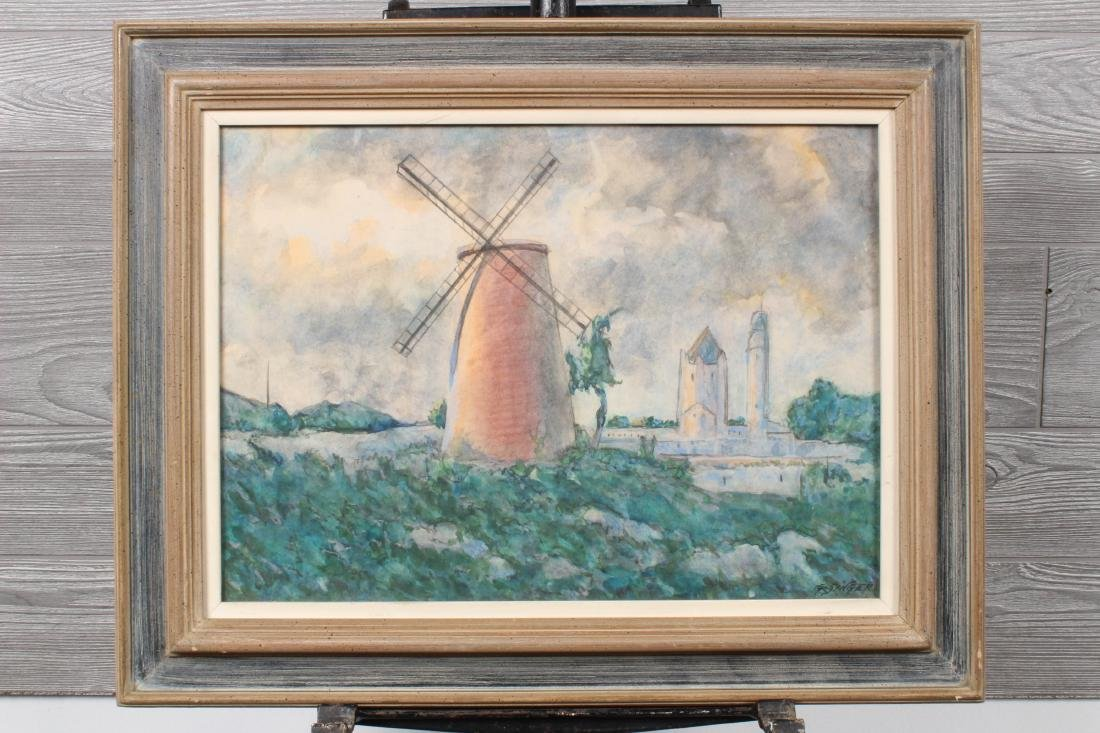 Windmill Watercolor Signed G Singer