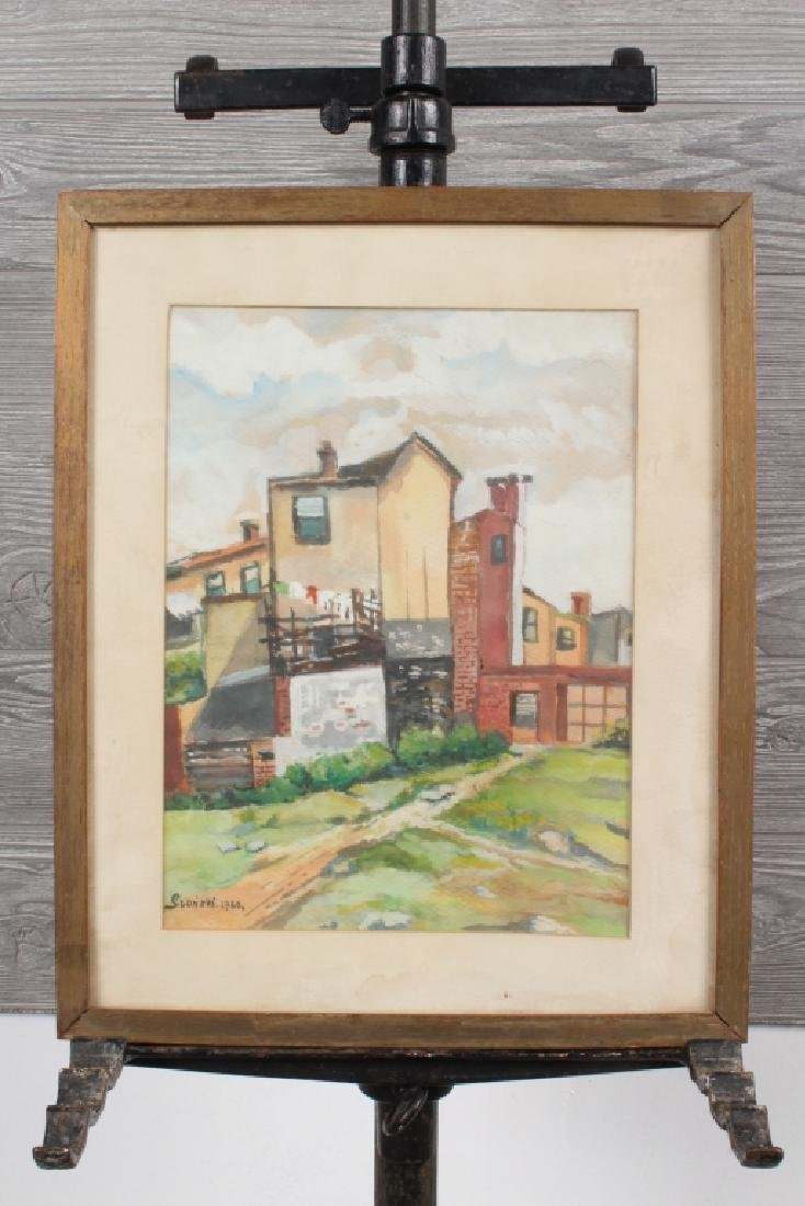 Endearing Homestead Watercolor SIgned Slonski