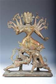 Very Large Rare Antique Bronze Temple Durgha