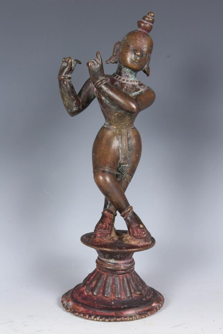 Antique Bronze Indian Ornate Krishna