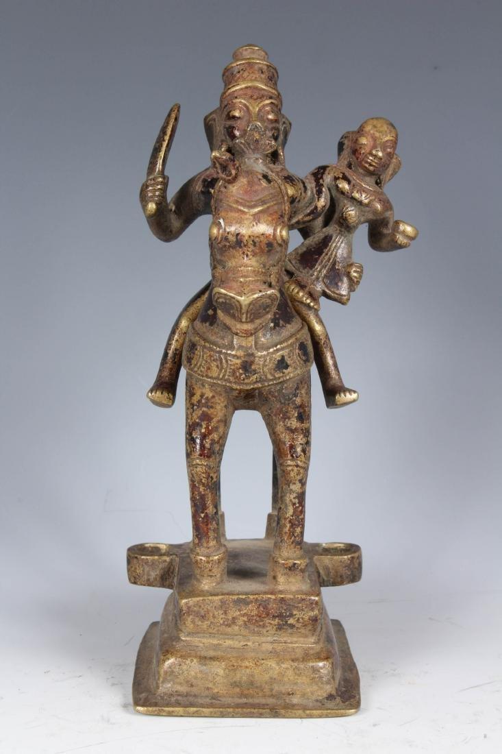 Antique Bronze Indian Horse with God Aiyanar