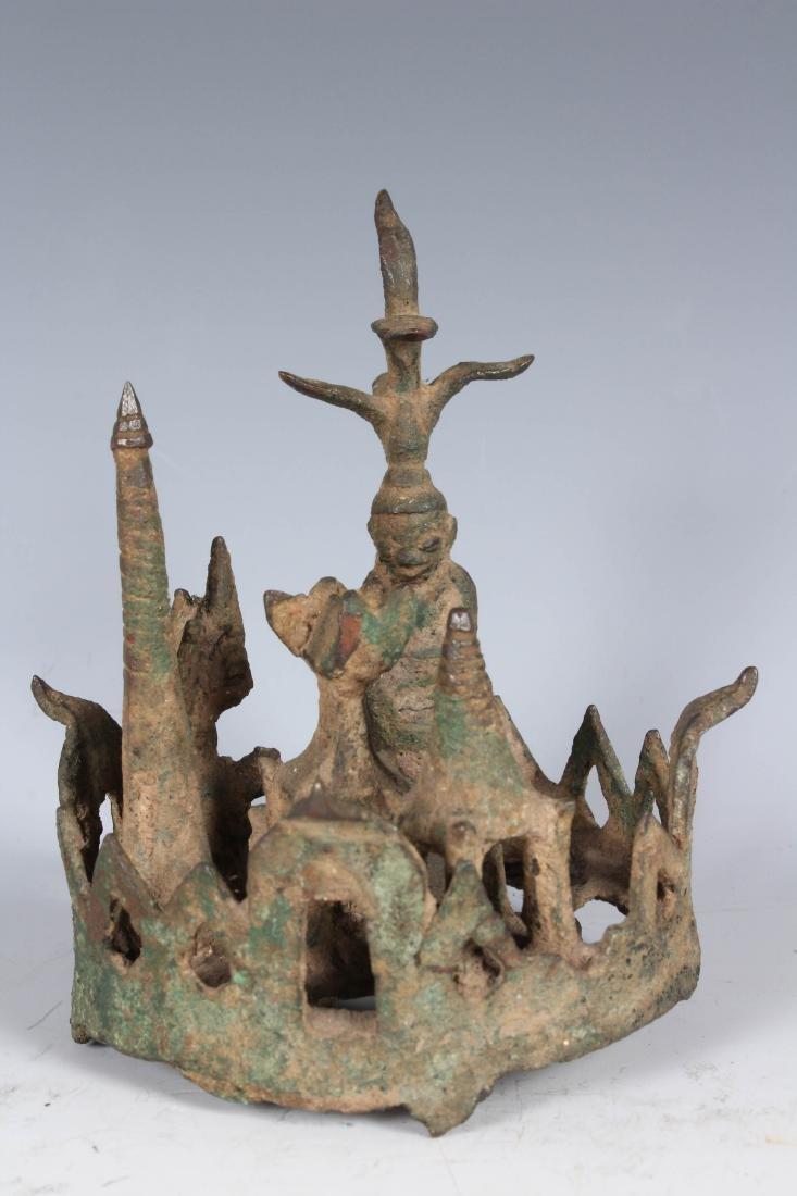 Antique Bronze Burmese Buddha in Garden Vignette