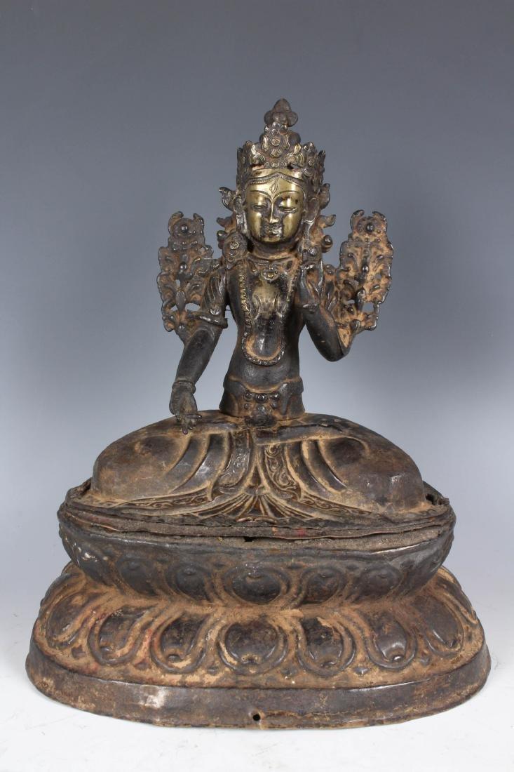 Rare Antique Bronze Repoussé Nepalese Statue