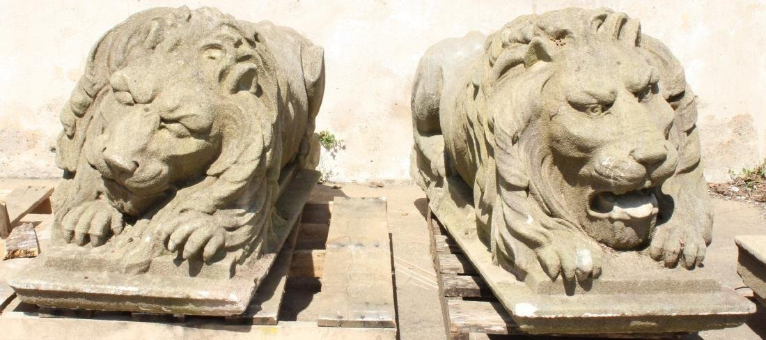 Pair Stone Lions