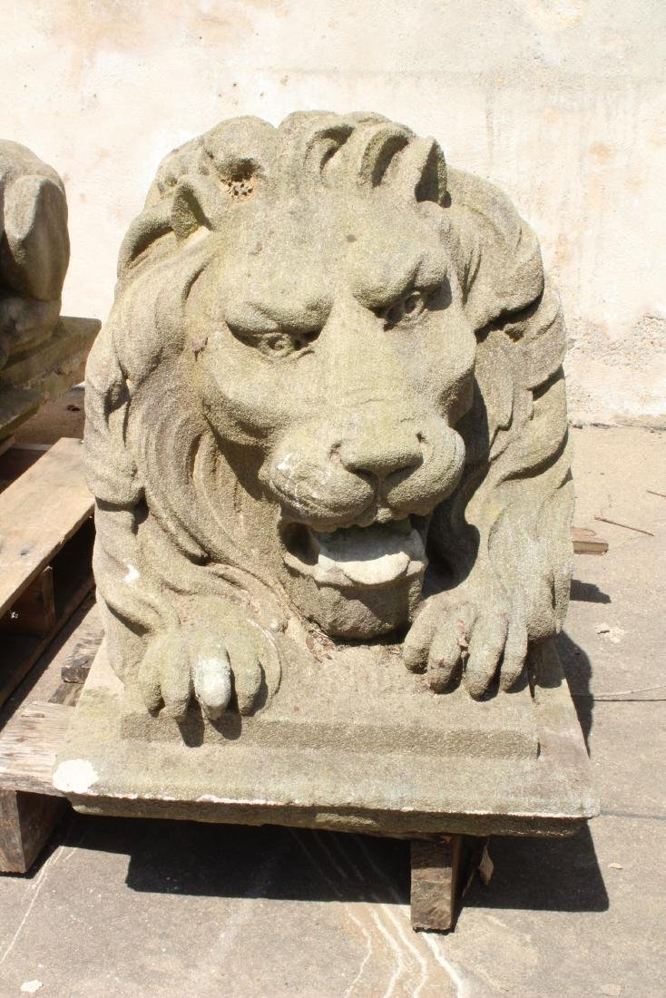 Pair Stone Lions - 2