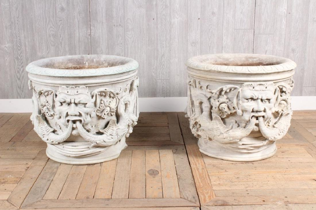 Pair Antique Carved Marble Urns