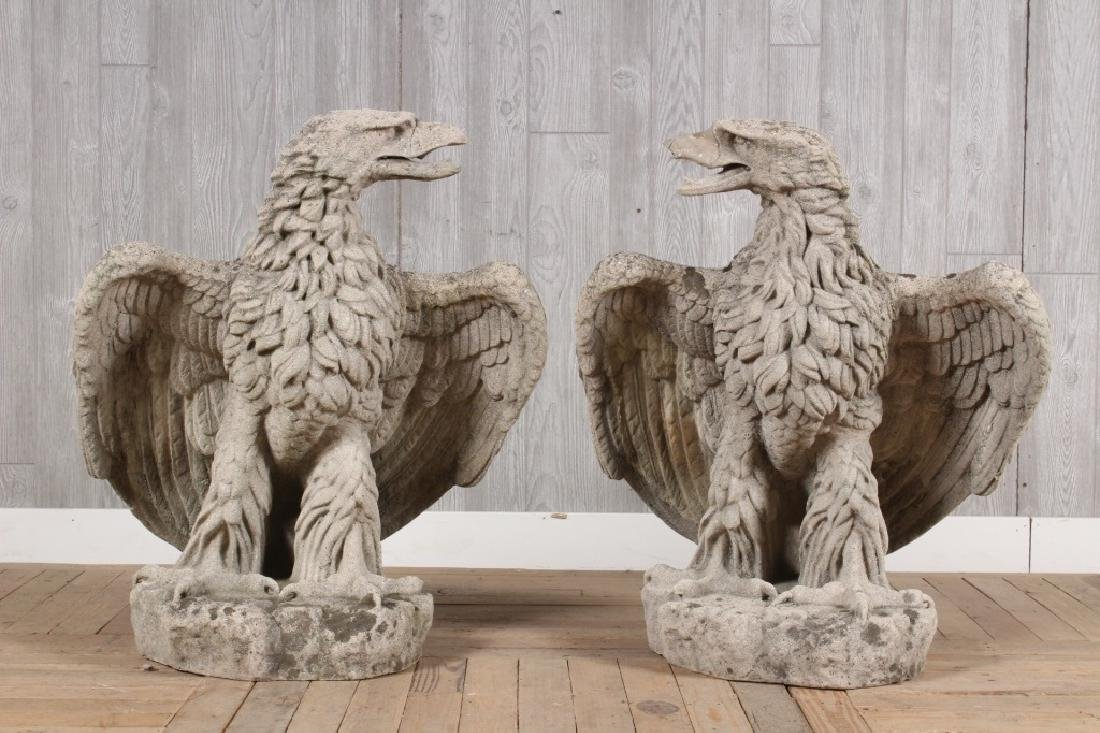 Pair Cast Stone Figural Eagles