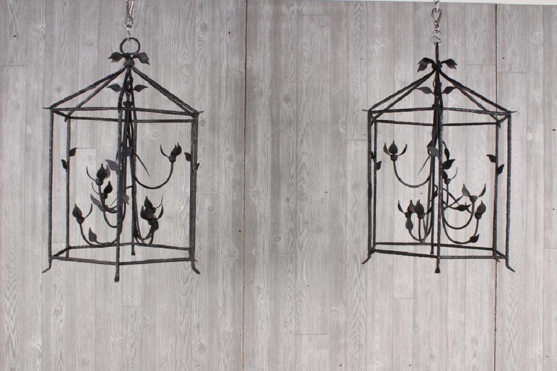 Pair Giacometti Inspired Pendant Lanterns