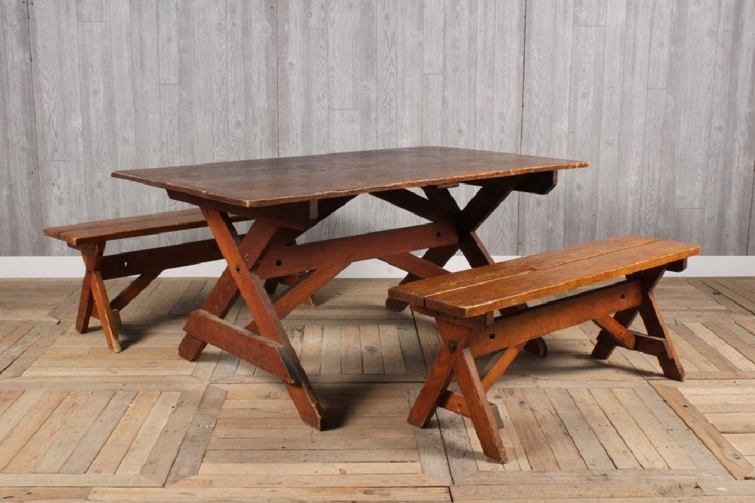 Vintage Camp Table and Benches