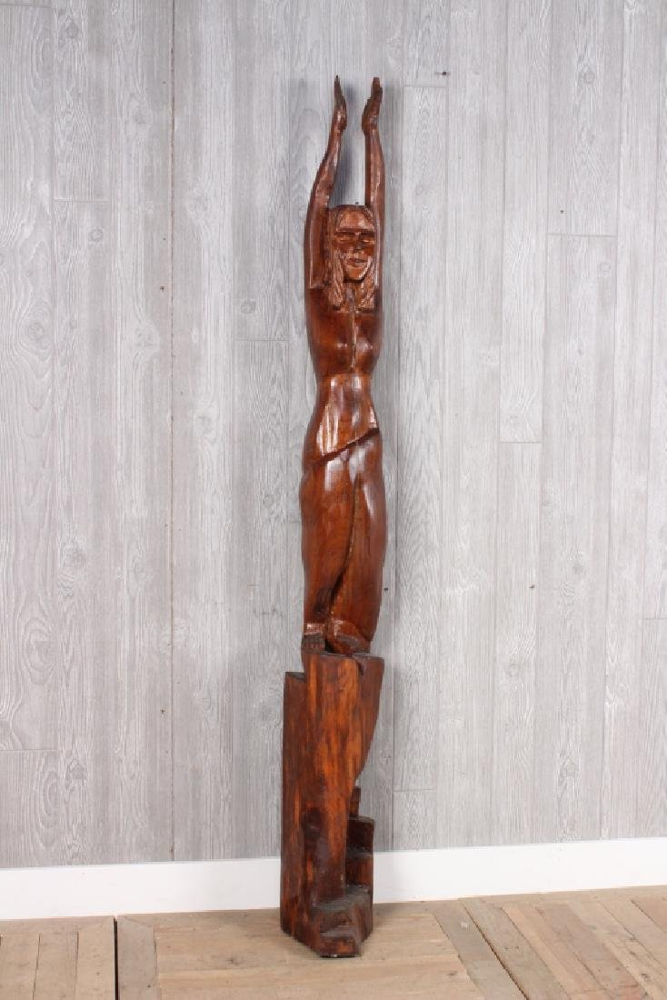 Folk Art Carved Timber Figural Nude