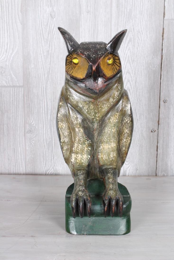 Folk Art Carved Wood Owl