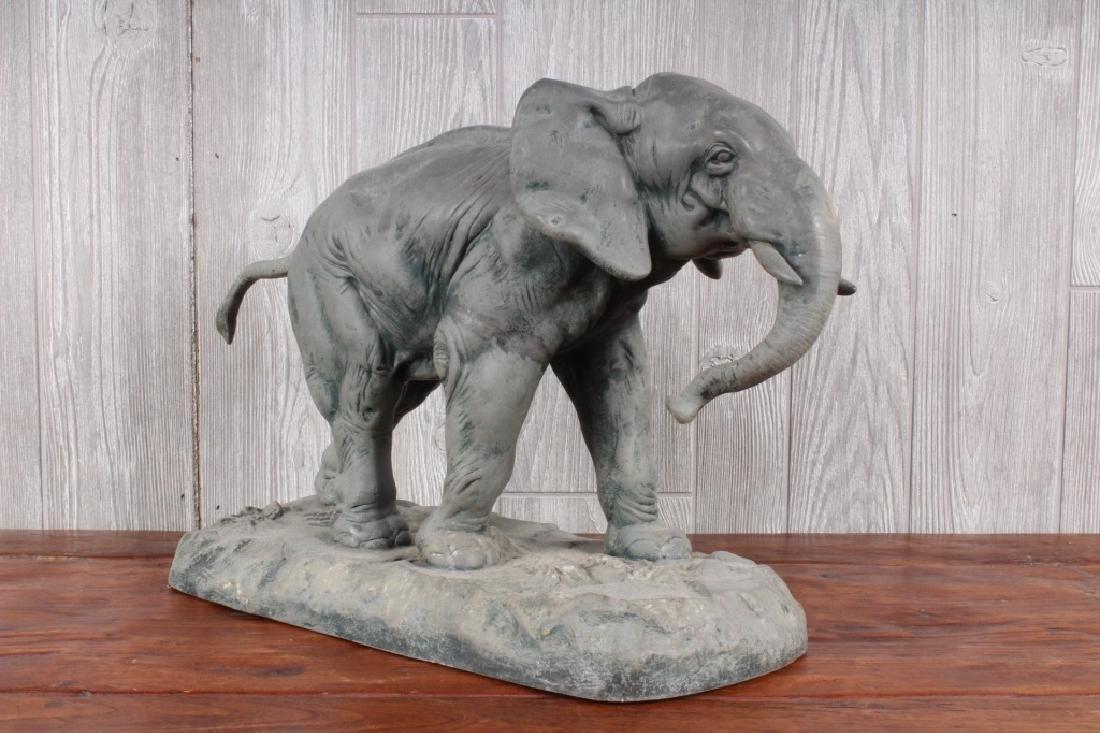 After Charles Valton Figural Zinc Elephant