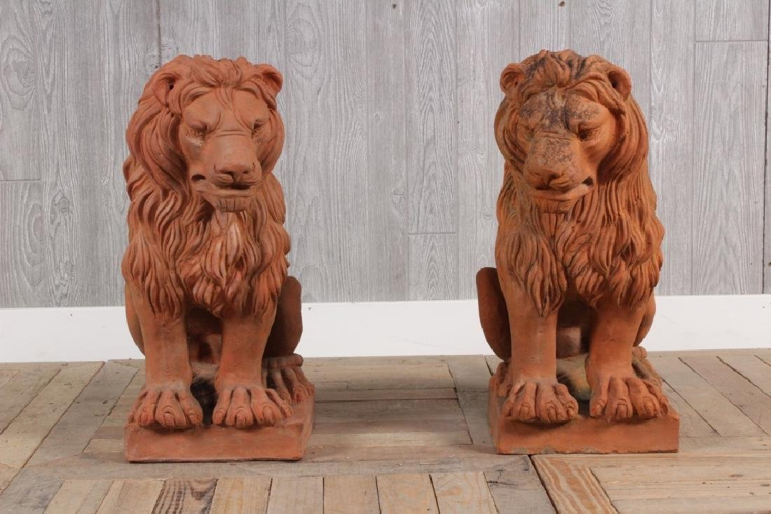 Pair Terracotta Lions