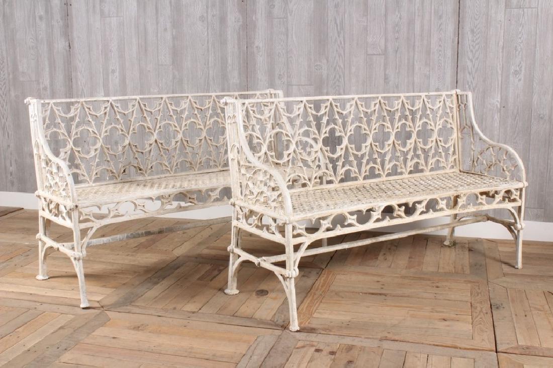 Pair Cast Iron Garden Benches
