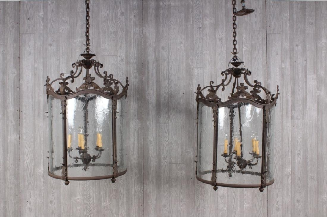 Pair of Wrought Iron Lanterns