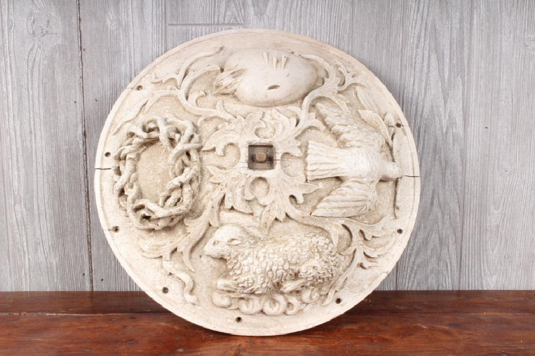 Carved Wood Lamb and Dove Rondel