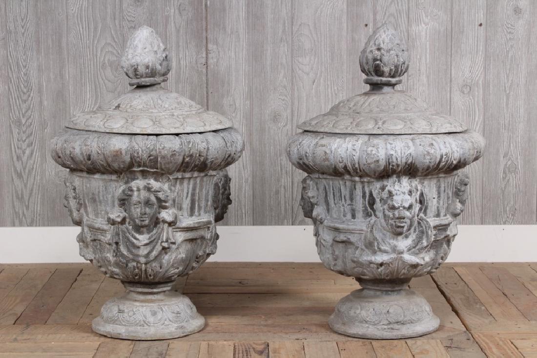 Pair Lidded Lead Urns
