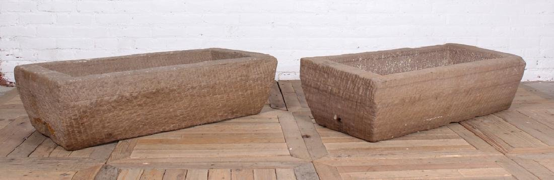 Pair 19th C Carved Stone Garden Troughs