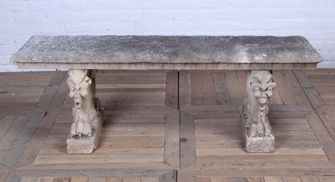 19th C Griffin Base Carved Marble Garden Bench