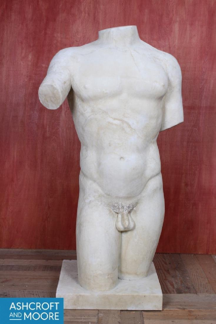 Life Sized Neo-Classical Carved Marble Male Torso